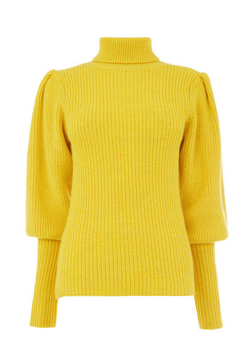 Warehouse, RIBBED PUFF SLEEVE JUMPER Yellow 0