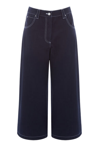 Warehouse, Top Stitch Wide Leg Culottes Navy 0