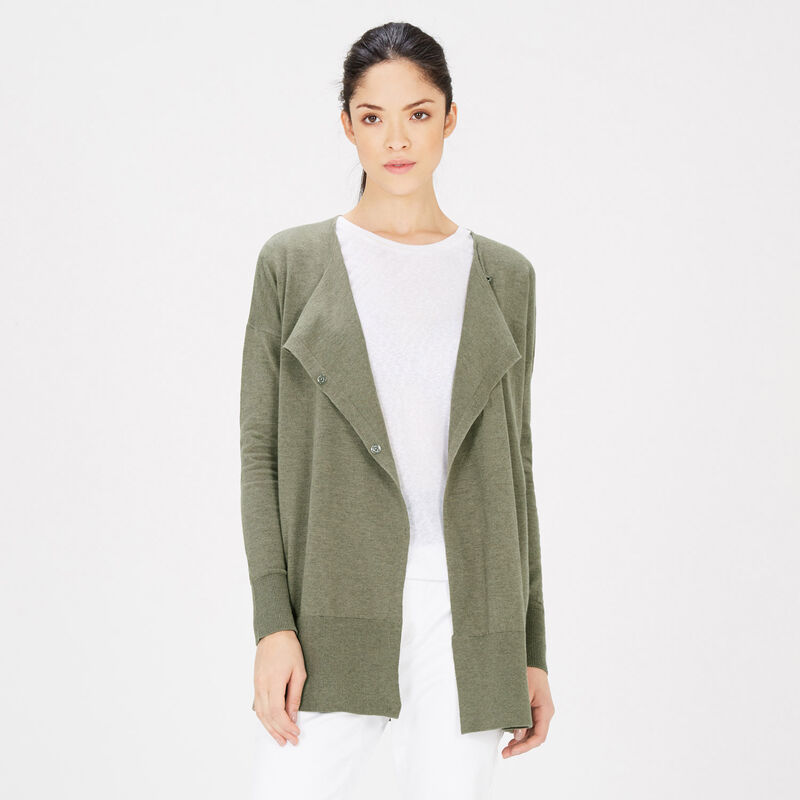 Warehouse, ASYMMETRIC POPPER CARDI Dark Green 1