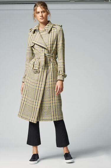 Warehouse, Checked Belted Trench Coat Multi 1