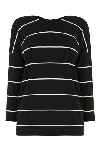 Warehouse, STRIPE CROSS BACK DETAIL TOP Black Stripe 0