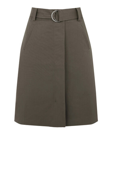 Warehouse, COMPACT COTTON A-LINE SKIRT Khaki 0