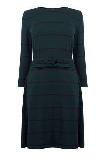 Warehouse, STRIPE TWIST BELT DRESS Green Stripe 0