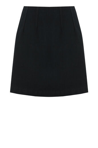 Warehouse, SEAM DETAIL DENIM PELMET SKIRT Black 0