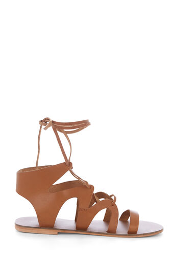 Warehouse, LEATHER GLADIATOR SANDAL Tan 0