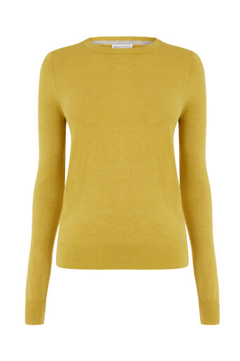 Warehouse, CREW JUMPER Mustard 0