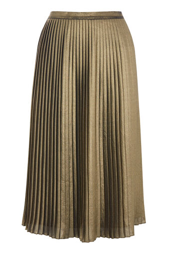 Warehouse, FOIL PLEATED SKIRT Gold Colour 0