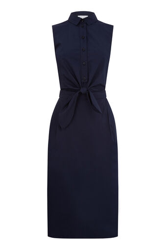 Warehouse, TIE FRONT COTTON SHIRT DRESS Navy 0