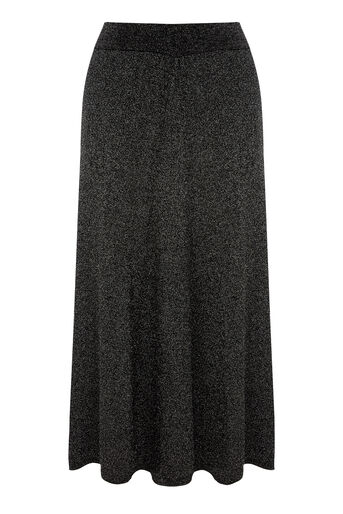 Warehouse, SPARKLE MIDI SKIRT Silver Colour 0