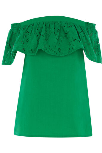 Warehouse, BRODERIE OFF SHOULDER TOP Bright Green 0