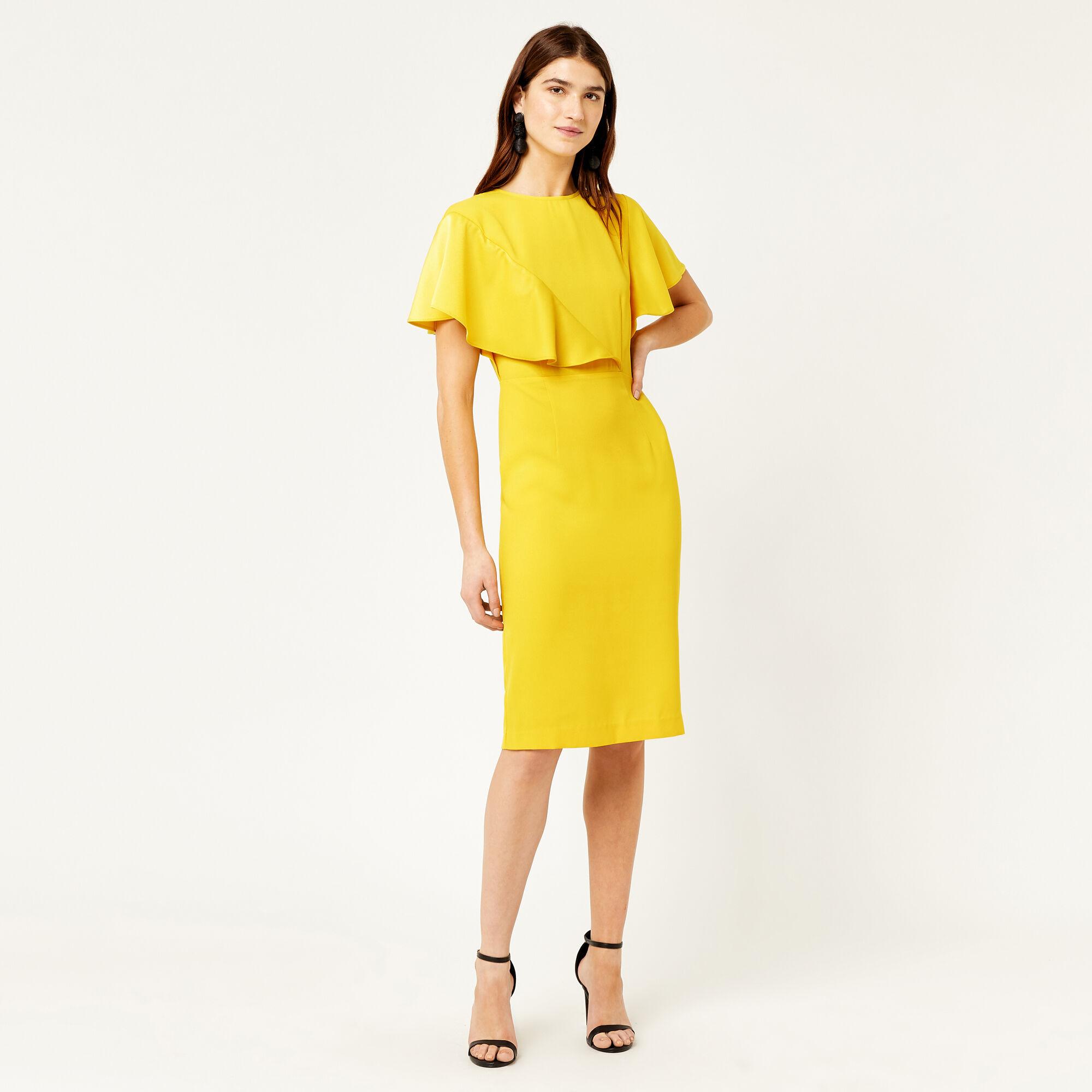 Warehouse, SATIN AND CREPE MIX DRESS Yellow 1