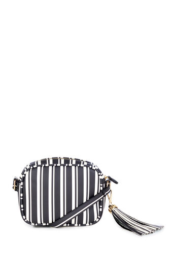 Warehouse, TASSEL STRIPE CAMERA BAG Black Stripe 0