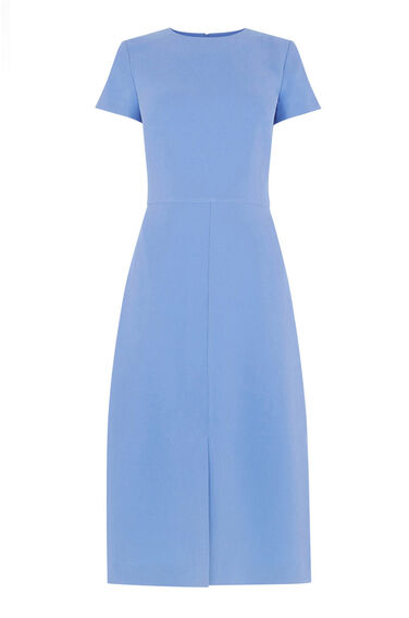 Warehouse, SPLIT FRONT MIDI DRESS Bright Blue 0