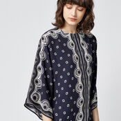 Warehouse, BANDANA PRINT TUNIC DRESS Navy 4