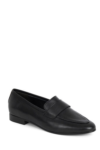 Warehouse, LEATHER SADDLE LOAFER SHOES Black 0
