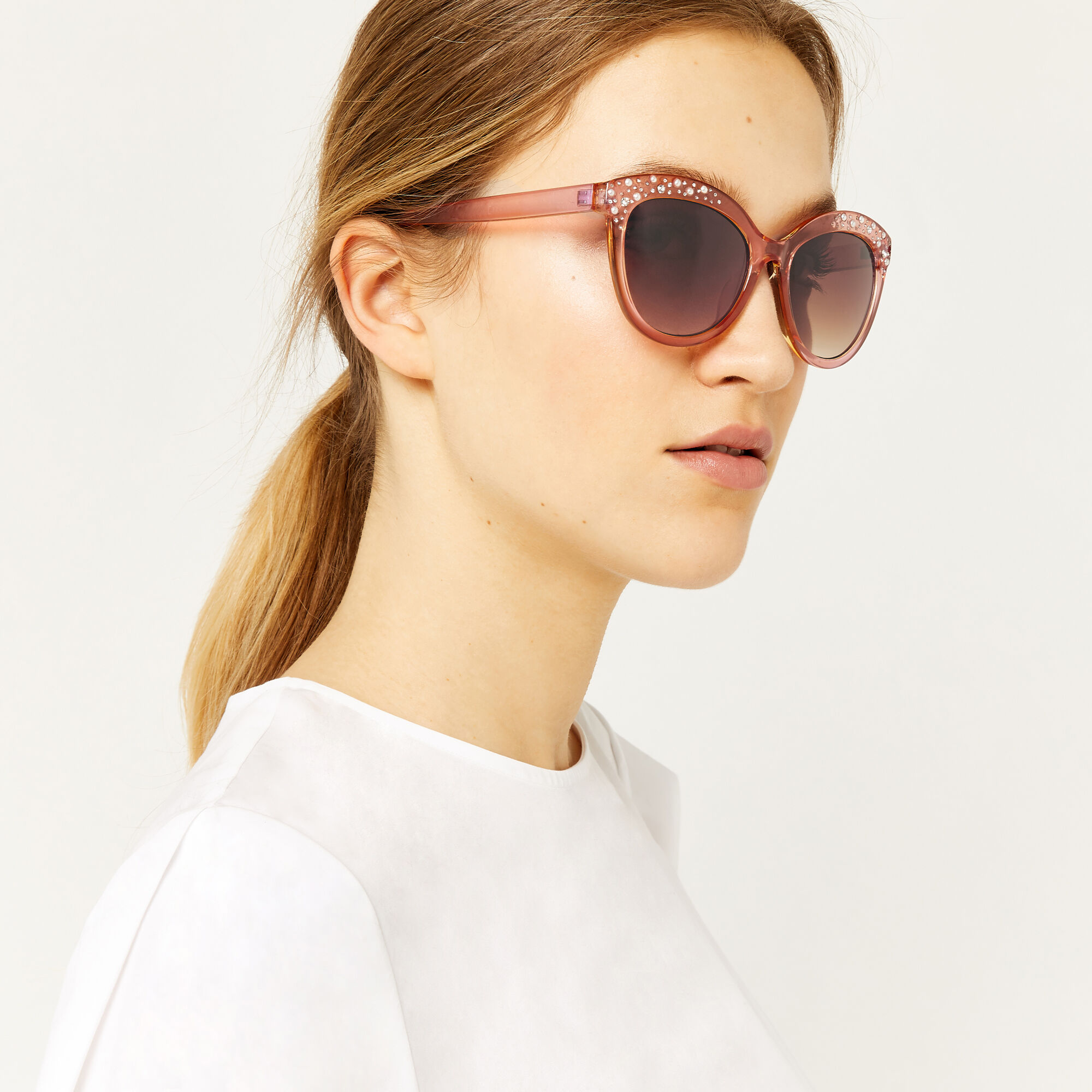 Warehouse, EMBELLISHED SUNGLASSES Light Pink 1