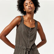Warehouse, SLEEVELESS ZIP DETAIL DRESS Khaki 4