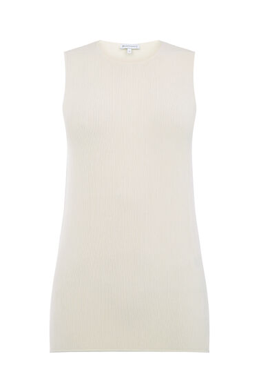 Warehouse, SLEEVELESS RIBBED TOP Cream 0