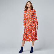 Warehouse, FLOATING FLORAL SKIRT Orange 2