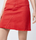 Warehouse, Reconstructed Denim Skirt Bright Red 4