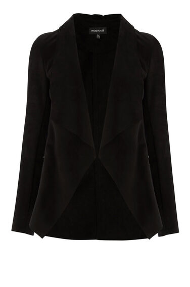 Warehouse, Suedette Waterfall Jacket Black 0