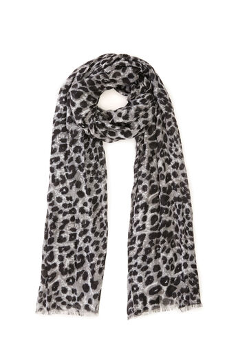 Warehouse, LEOPARD PRINT SCARF Grey Pattern 0