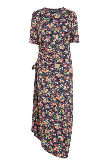 Warehouse, DITSY GATHERED SIDE MIDI DRESS Multi 0