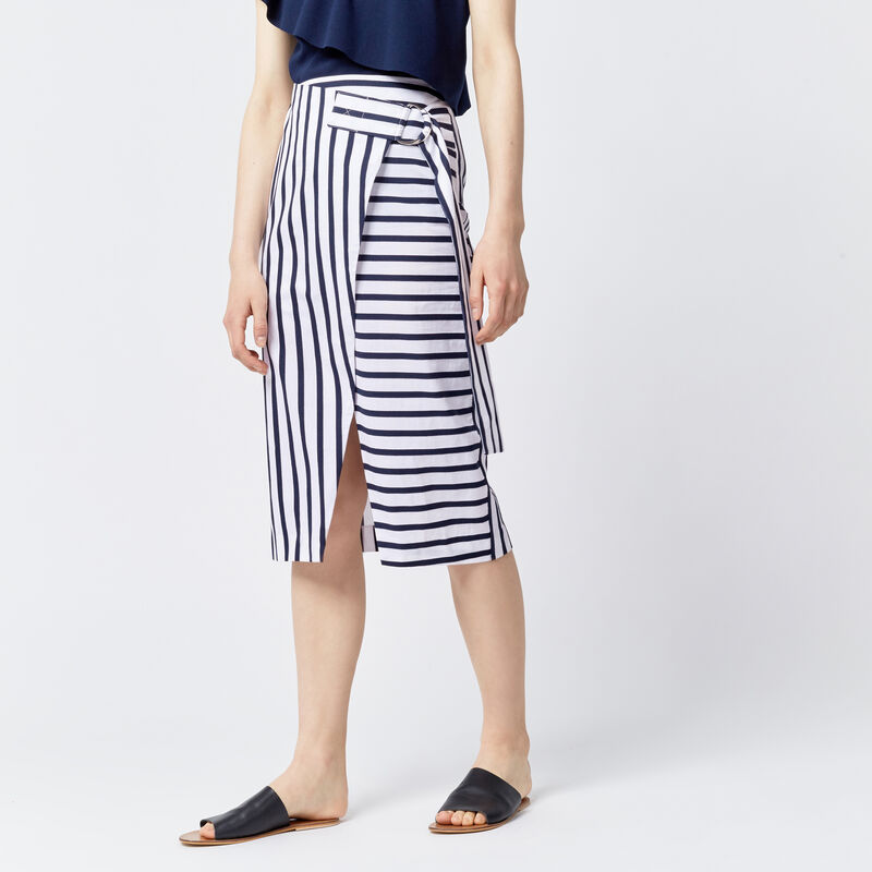 Warehouse, STRIPE WRAP MIDI SKIRT Blue Stripe 1