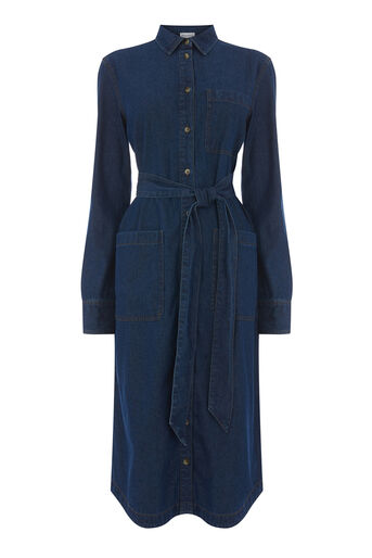 Warehouse, BELTED SHIRT DRESS Dark Wash Denim 0
