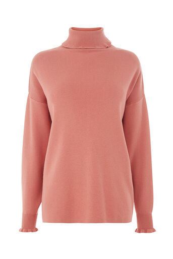Warehouse, FRILL HIGH NECK BOXY JUMPER Light Pink 0