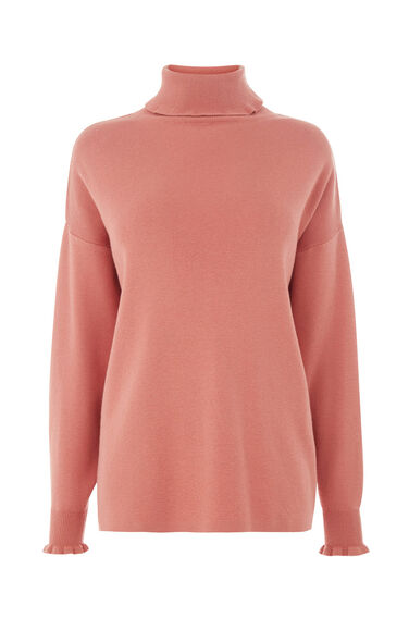 Warehouse, FRILL NECK BOXY JUMPER Light Pink 0