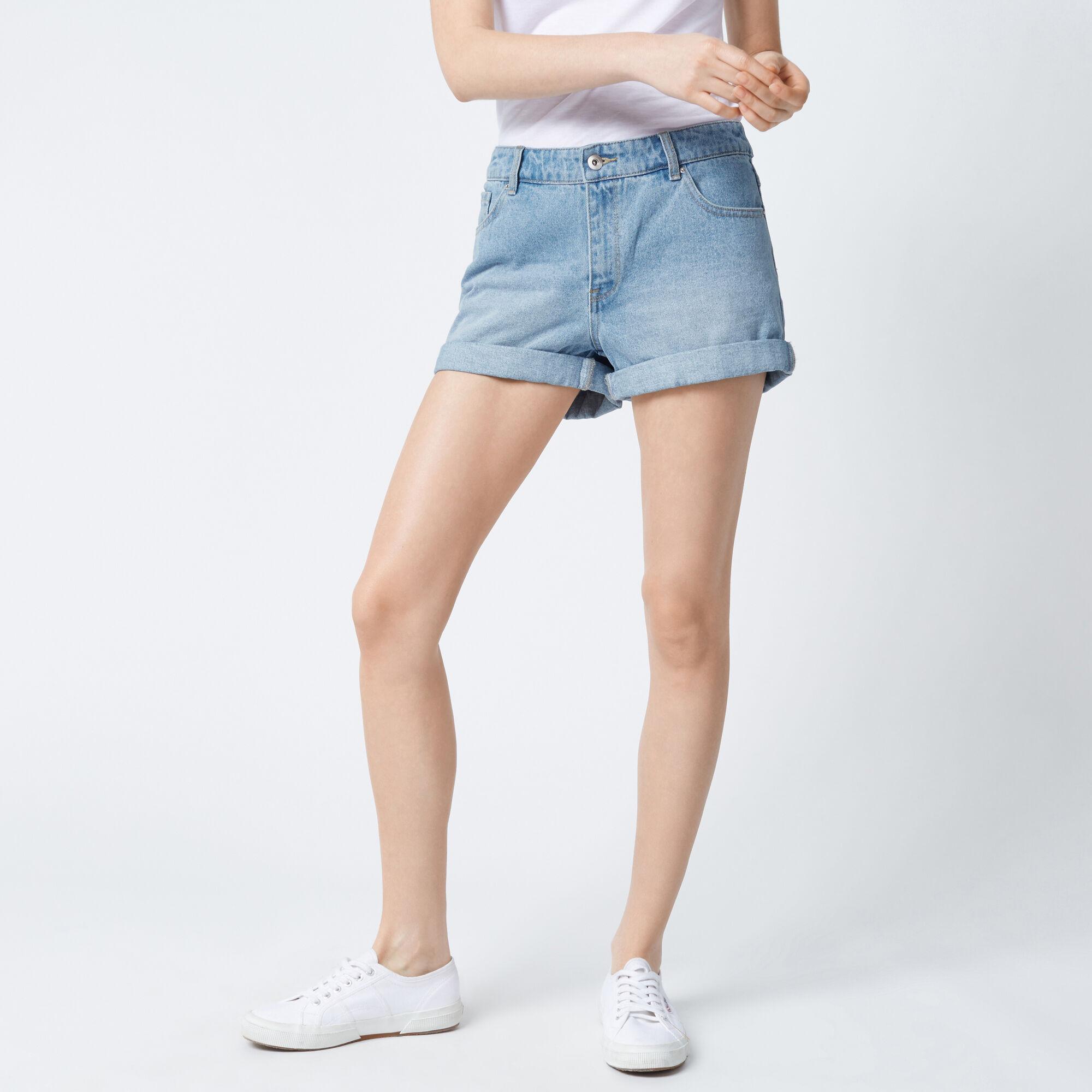 Warehouse, Turn Up Denim Shorts Light Wash Denim 1