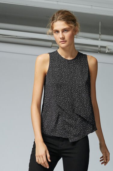 Warehouse, SPOT PRINT LAYERED SHELL TOP Black Pattern 1