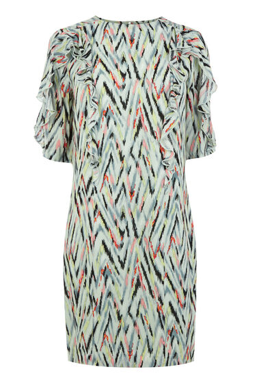Warehouse, ZIG ZAG PRINT RUFFLE DRESS Multi 0