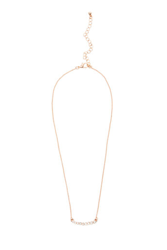 Warehouse, GRADUATED CRYSTAL BAR NECKLACE Rose Gold 0