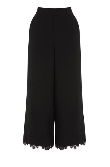 Warehouse, Lace Hem Culottes Black 0