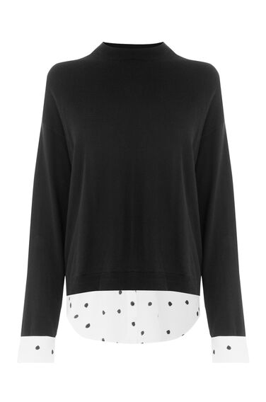 Warehouse, SPLIT BACK DOTTY HYBRID JUMPER Black 0