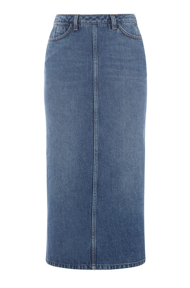 Warehouse, Pin Up Skirt Mid Wash Denim 0