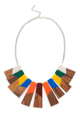 Warehouse, WOOD FAN NECKLACE Multi 0