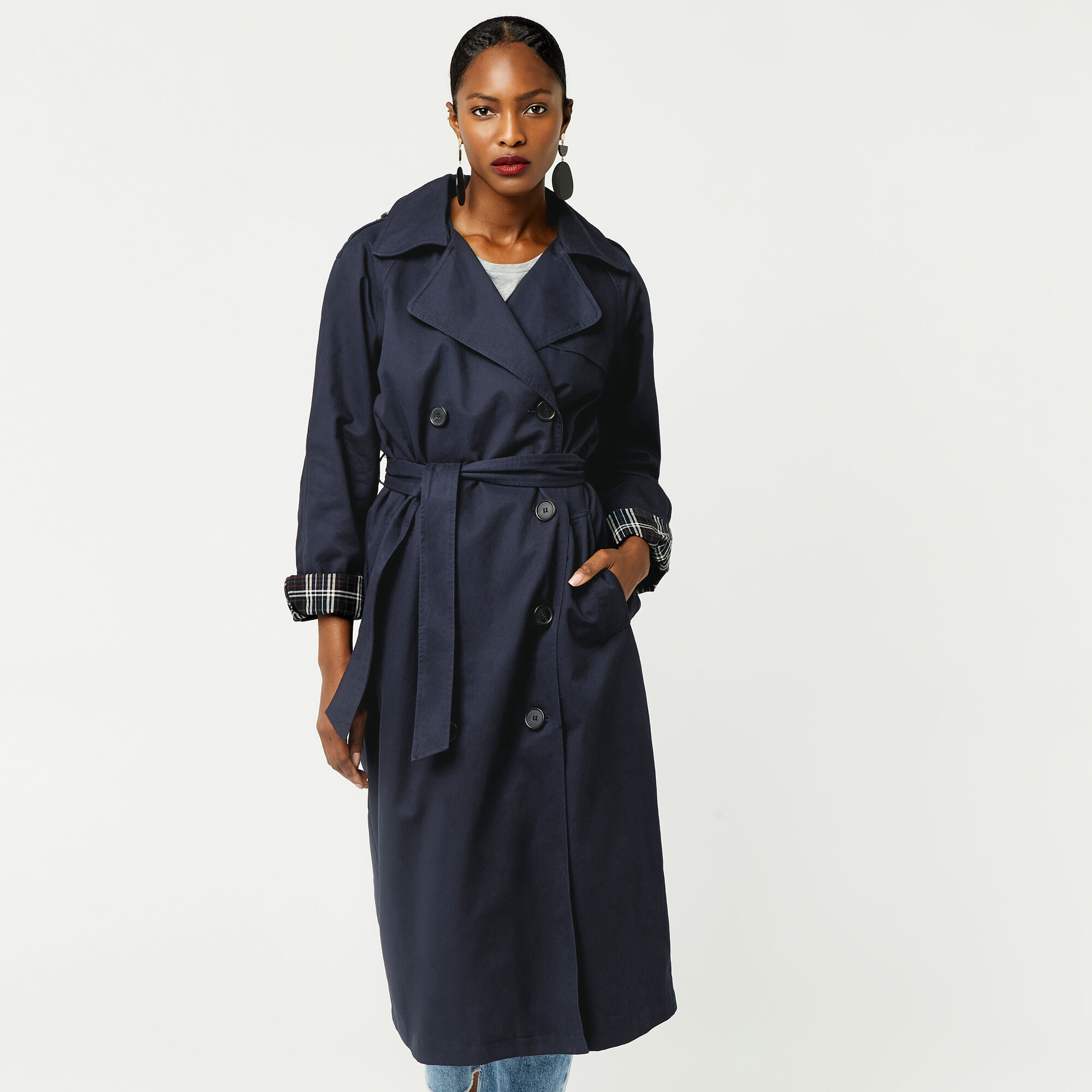 Warehouse, Check Lined Trench Navy 1
