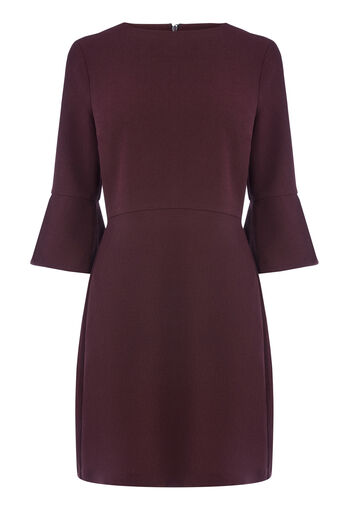 Warehouse, FLUTE SLEEVE DRESS Plum 0