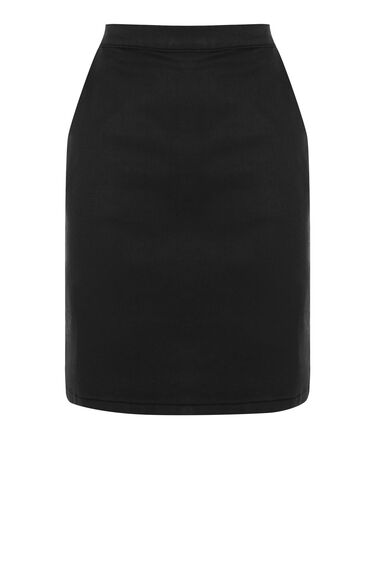 Warehouse, Coated Denim Skirt Black 0