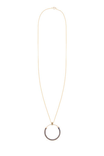 Warehouse, Circle twisted inlay necklace Gold Colour 0