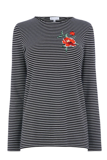 Warehouse, ROSE EMBROIDERED STRIPE TOP Black Stripe 0