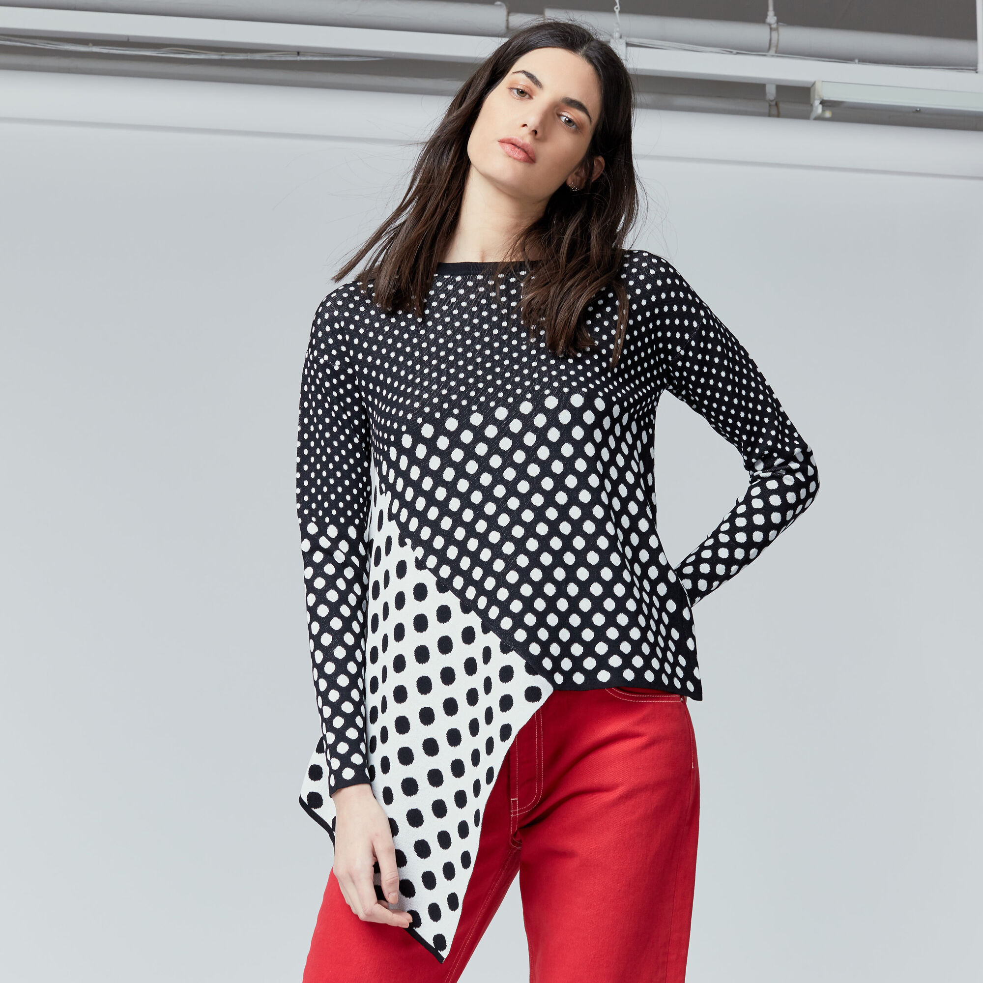 Warehouse, POLKA DOT JUMPER Black Pattern 1