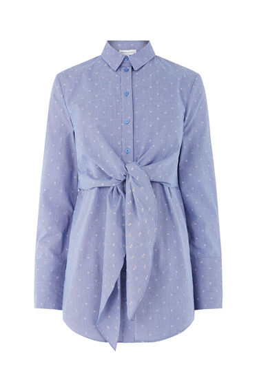 Warehouse, TIE FRONT DOBBY SHIRT Blue Pattern 0
