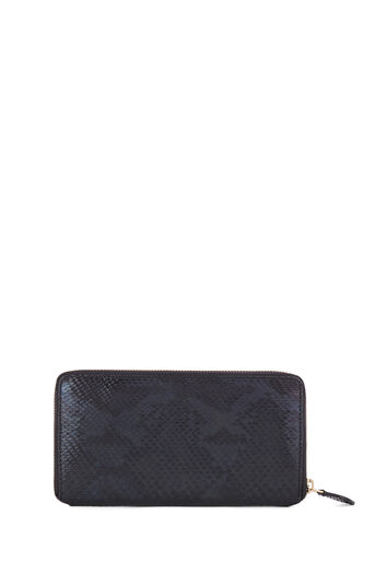Warehouse, SNAKE EMBOSSED LEATHER WALLET Black Pattern 0