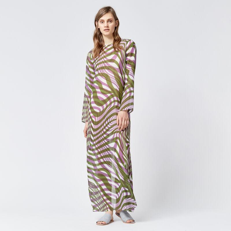 Warehouse, WARP PRINT MAXI DRESS Purple Pattern 1