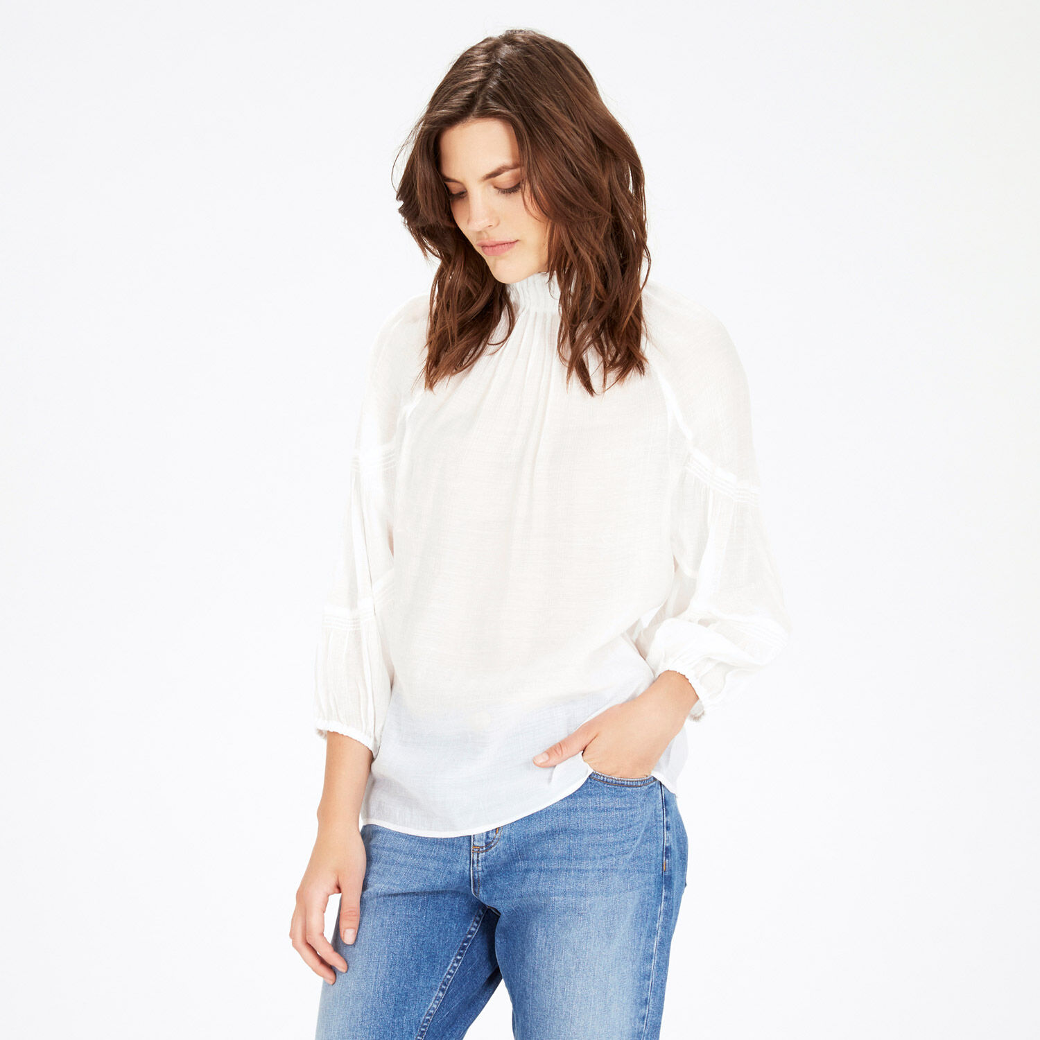 Warehouse, HIGH NECK BLOUSON TOP Cream 1