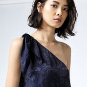 Warehouse, LEAF JACQUARD TOP Navy 4